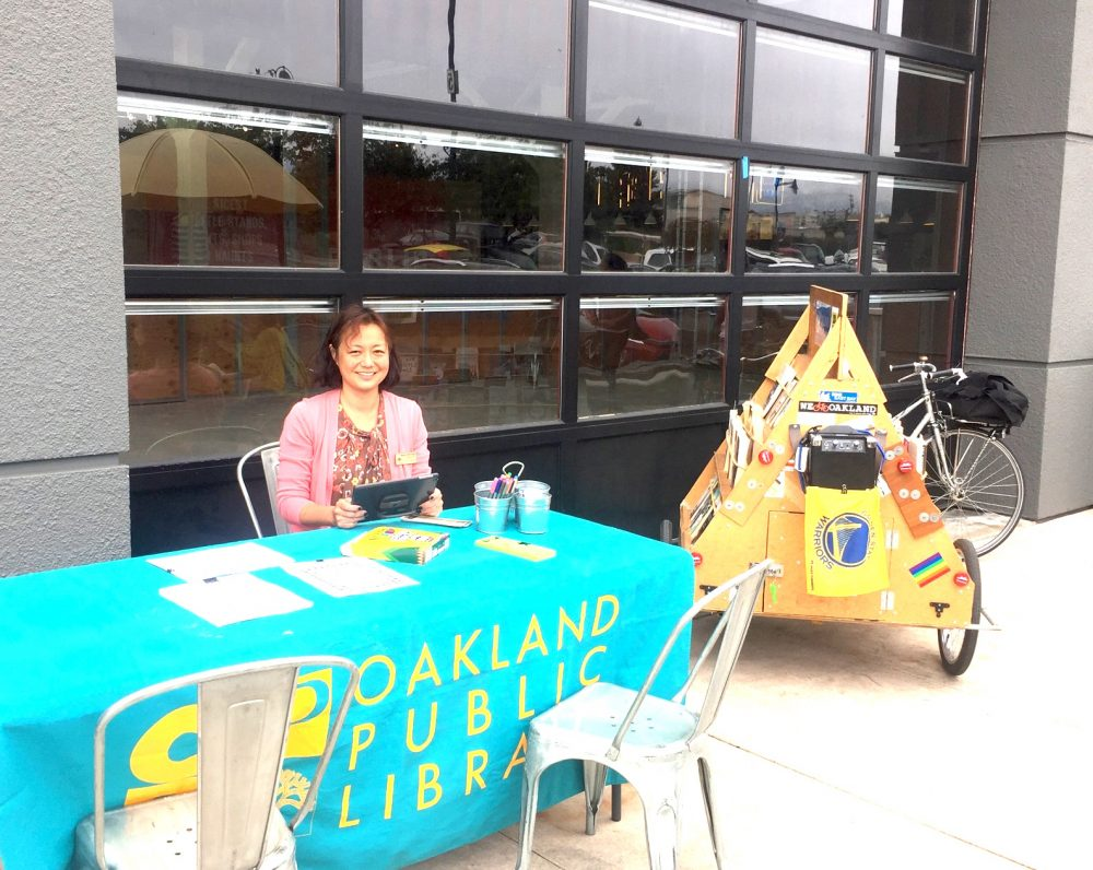 Oakland Public Library's Bike Library at Public Market Emeryville last summer.